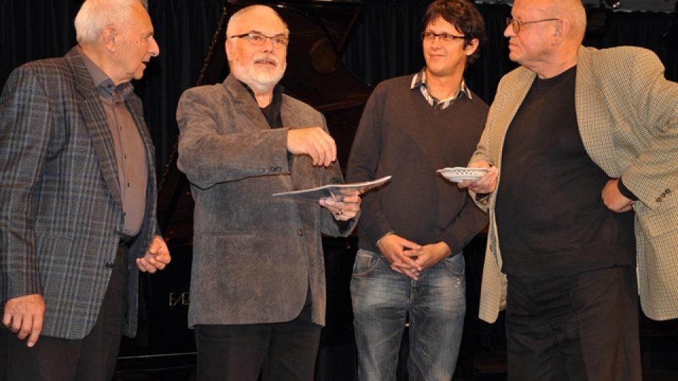 Křest not, zleva Milan Dvořák, Karel Růžička, Radim Kolek, Miloš Rejchrt