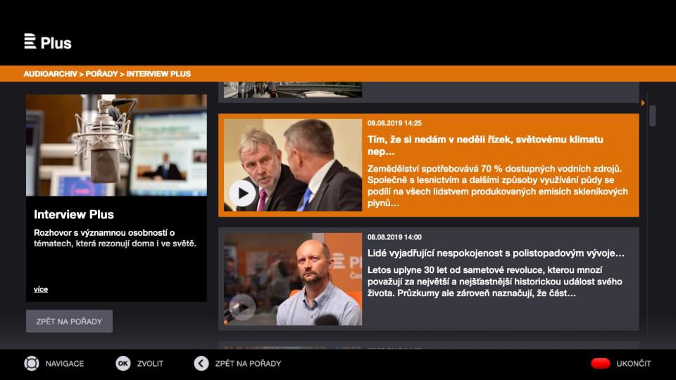 Audioarchiv Českého rozhlasu Plus na platformě HbbTV